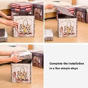 Image 5 - Caja de almacenamiento plegable multifuncional de alta capacidad, banqueta plegable de almacenamiento de película no tejida Retro, taburete de almacenamiento de zapatos creativo para el hogar