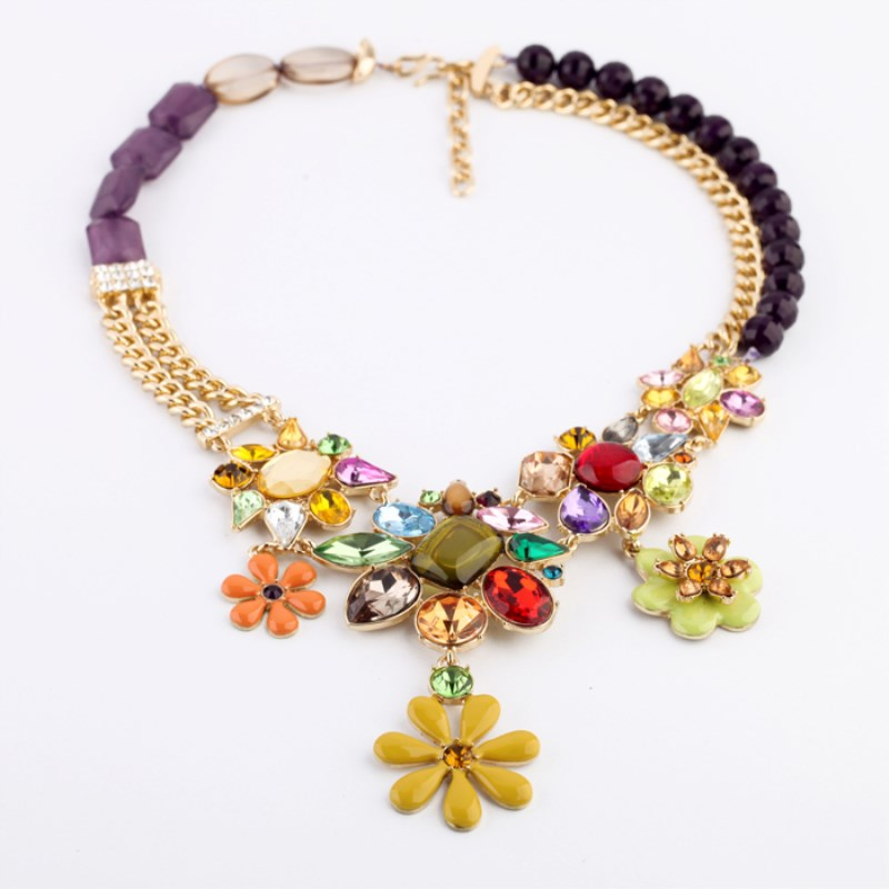 New Fashion accessories alloy gem flower female necklace