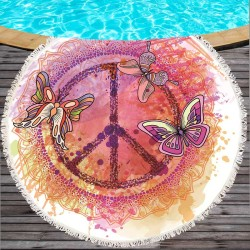 Free shipping watercolor dreamcatcher butterfly pattern round swimming beach towel tapestry floor mat tassels props, 150cm