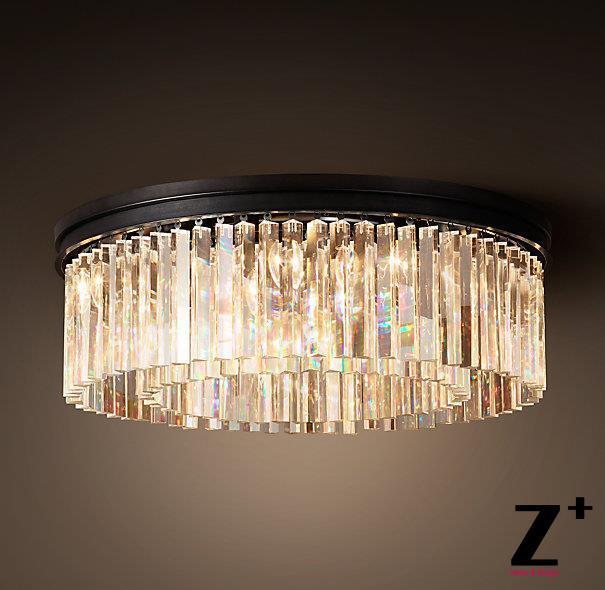 Průmyslový průměr 55 cm RHYS CLEAR GLASS PRISM ROUND LAND Crystal Vintage K9 Luster Crystal