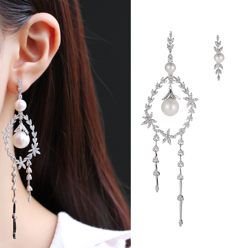 SWOUR New Fashion Jewelry S925 Silver Needle CZ Long Leaf Olive Tassel Design Long Unmatched Dangle Earrings For Women S454