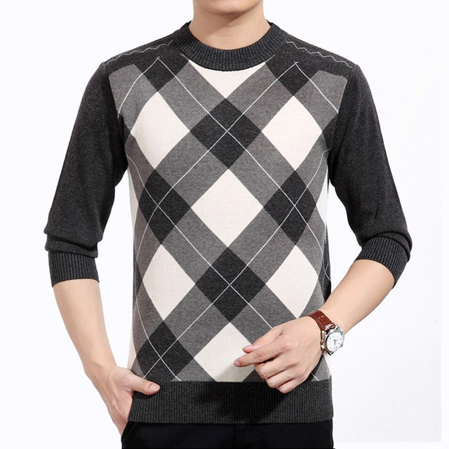 Men Pullover New Fashion Casual Men knitted Sweaters Men's Plaid O Neck Clothing Warm Winter Sweater Pullover Big Yards M-3XL