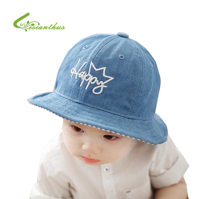 a1551e564317 Fashion Kids Toddlers Baby Girls Boys Sun Hat Letter Happy Embroidery Bucket  Cap Baby Cowboy Cotton Fisherman Hat Free Shipping