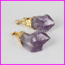 5pcs Newest Gold 24 kt. Plated Charming Pendants Natural CRYSTAL Quartz Druzy Crystal Stone Jewelry Pendants.(China)