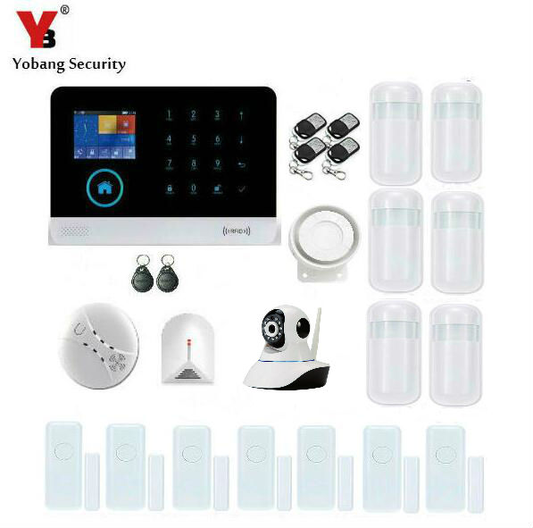 YobangSecurity WIFI GSM IP Camera Wireless Home House Alarm System Kits IOS/Android APP Control Intruder Burglar Alarm System yobangsecurity touch keypad wireless home wifi gsm alarm system android ios app control outdoor flash siren pir alarm sensor