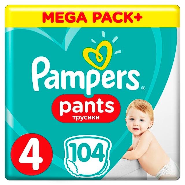 Трусики Pampers Pants 9-15кг, размер 4, 104 шт.