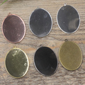 30*40mm 50pcs/Lot Bronze/Gold/Silver/Black OVAL Blank Pendant  Glass Trays Bases Cameo Cabochon Setting for Glass/Stickers