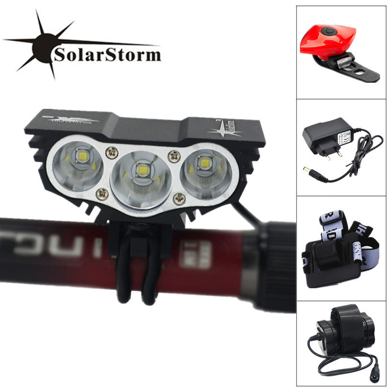 Solarstorm Light 3x XM-L U2 LED Front Bicycle Light Cycling Bike Lamp + Waterproof Battery Pack & Charger solarstorm x3 bicycle light 8000 lumens 4 mode xm l t6 led cycling front light bike light lamp torch battery pack charger