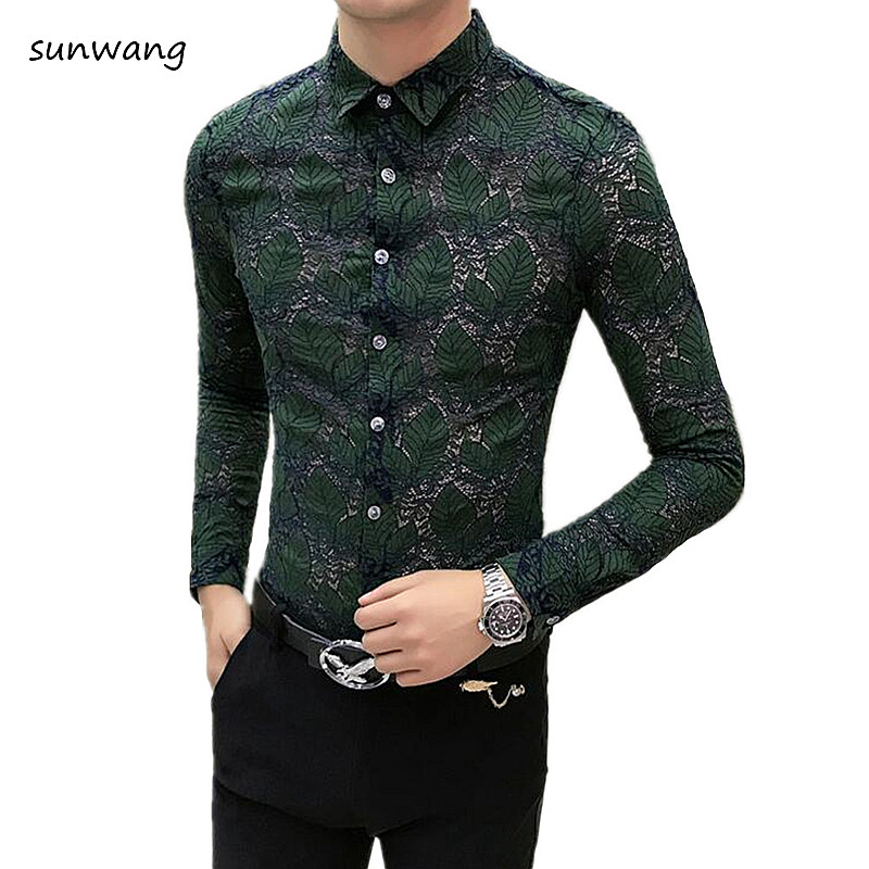 nouvelle collection profiter de prix discount beau US $23.13 11% OFF|Sunwang Men Lace Shirt 2019 New Fashion Men See Through  shirt Party Prom transparent shirt Sexy Long Sleeve Chemise Homme Shirt-in  ...