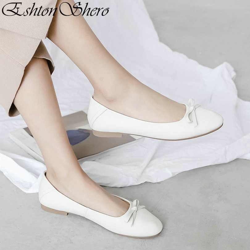EshtonShero 2019 Spring Woman Womens Shoes Flats Leather+PU Flat Heels Pointed Toe Solid Beige Ladies Casual Size 3-12