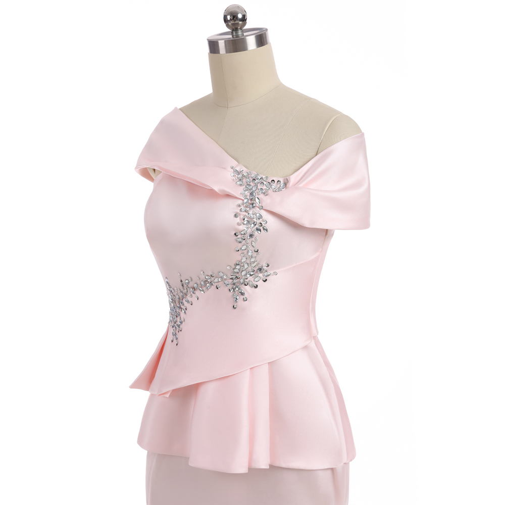 Pink 2018 Mother Of The Bride Dresses Mermaid Cap Sleeves Satin Beaded Slit Wedding Party Dress Mother Dresses For Wedding 6