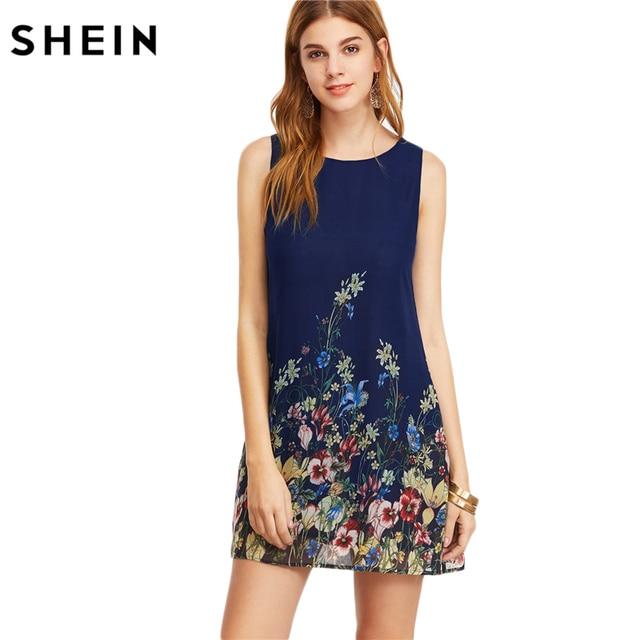 Vestidos de mujer SHEIN nueva llegada 2017 Navy Buttoned Keyhole Back flor estampado cuello redondo sin mangas una línea vestido