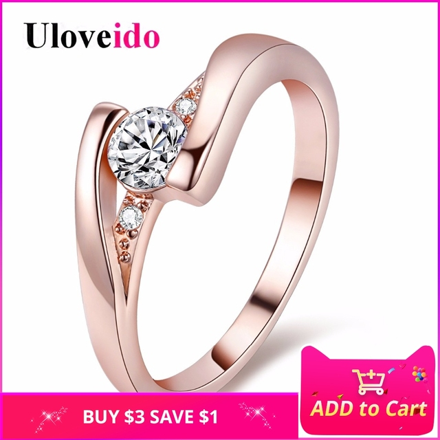 Uloveido Fashion Party Rings for Women Valentine's Day Silver Color Charms Ring Jewelry Promotion New Wedding Crystal Ring J045