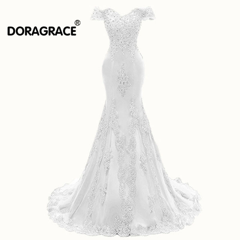 Doragrace vestidos de noiva Elegant Lace Applique Beaded Off-Shoulder Mermaid Wedding Dresses Bridal Gowns