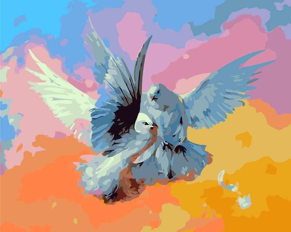 Home Decor Frameless Pictures Painting By Numbers DIY Digital Oil Painting On Canvas Wall Art Abstract Peace doves