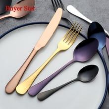 Здесь можно купить   Gold Dinnerware Set 1810 Stainless Steel Cutlery Set 4 Pieces Black Knife Fork Set Tableware Silver Cutleries Western Food Set Kitchen,Dining & bar