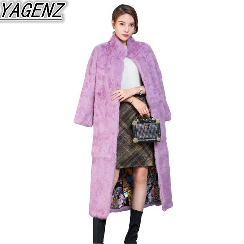 Veste Fourrure Chaud Pardessus Section gray Faux purple Femmes Manteaux Longues Manteau longue Manches Femelle Dames Moyen Entier De Black Lapin Hiver qEwPOgAw