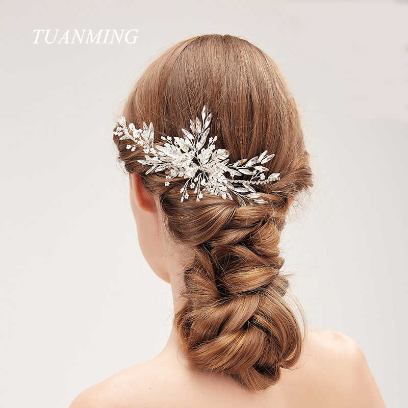 Luxury Handmade Rhinestone Hair Combs Crystal Pearls Hairgrips Clips For Bride Wedding Hair Accessories Women Headpiece Jewelry