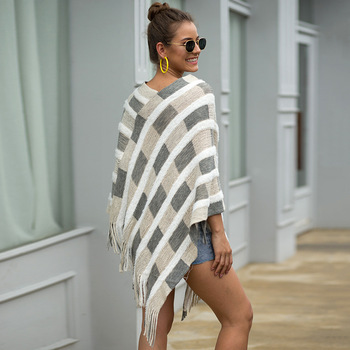 HEE GRAND Women Plaid Sweaters Autumn 2019 New Tassels Cloaks Sexy V-neck Pullovers High Street Capes Drop Shipping WZL1505 10