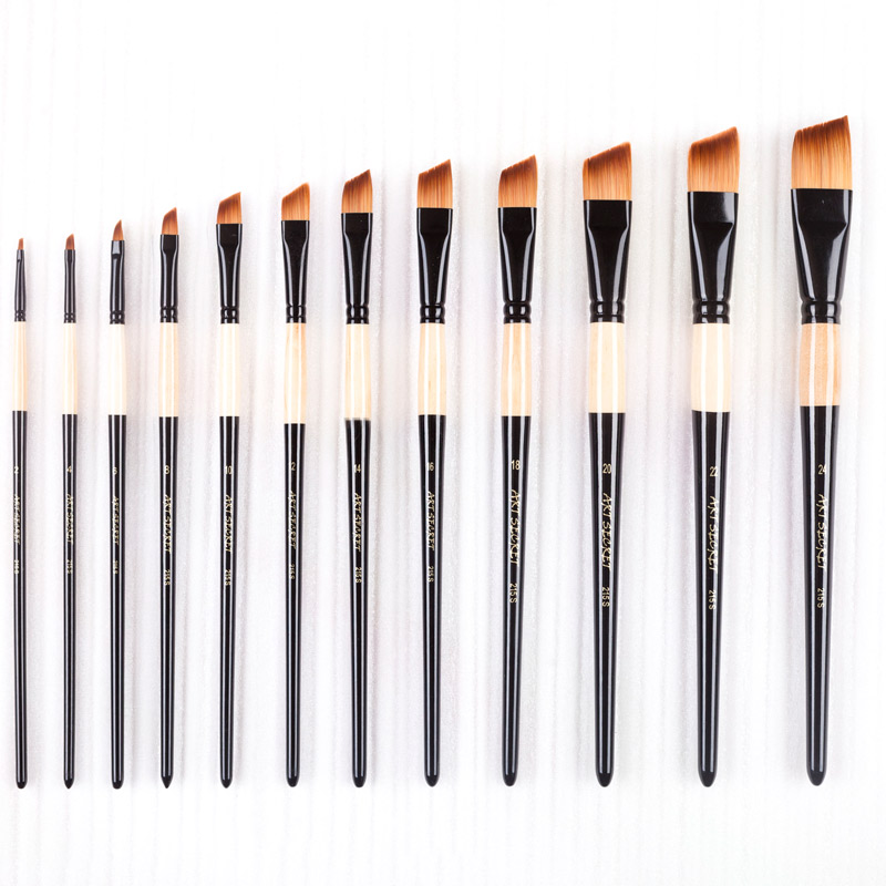 215 Slant High Quality Wooden Handle Taklon Hair Art Paint Brushes Artistic Painting Brushes For Watercolor And Oil Drawing