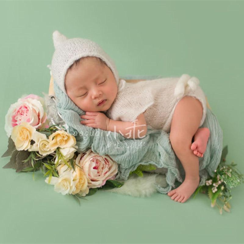 Baby fotografie rekwisieten, handgemaakte mohair romper met hoed, fotografie kostuum rekwisieten