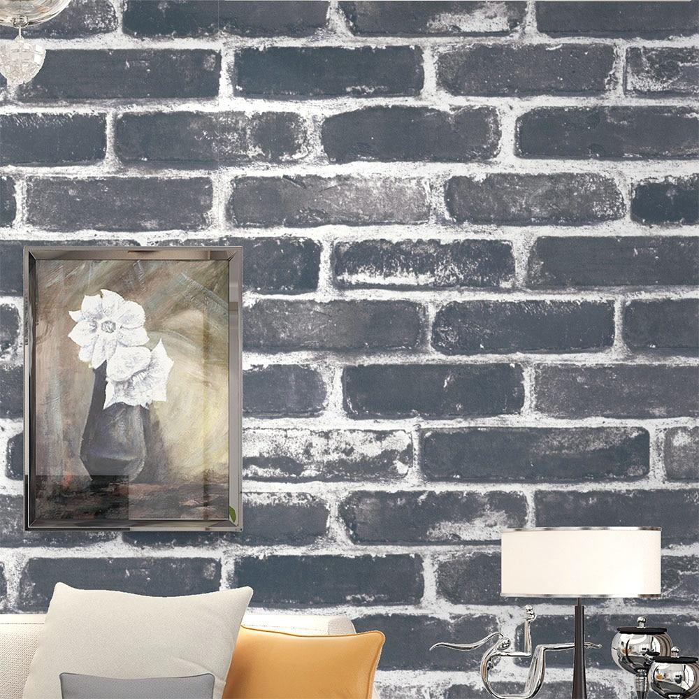 HaokHome Vintage Faux Brick 3D PVC Wallpaper Textured Black/Grey Rust Brick Stacked Paper Murals Home Kitchen Bathroom Decor boxy fancy brick black