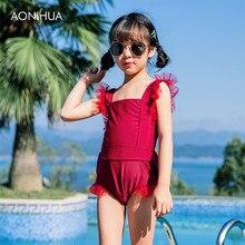 AONIHUA Cute Girl Swimwear One-Piece Swimsuit Child Sweet Beach Wear Bathing Suit Swim Children swimming wear