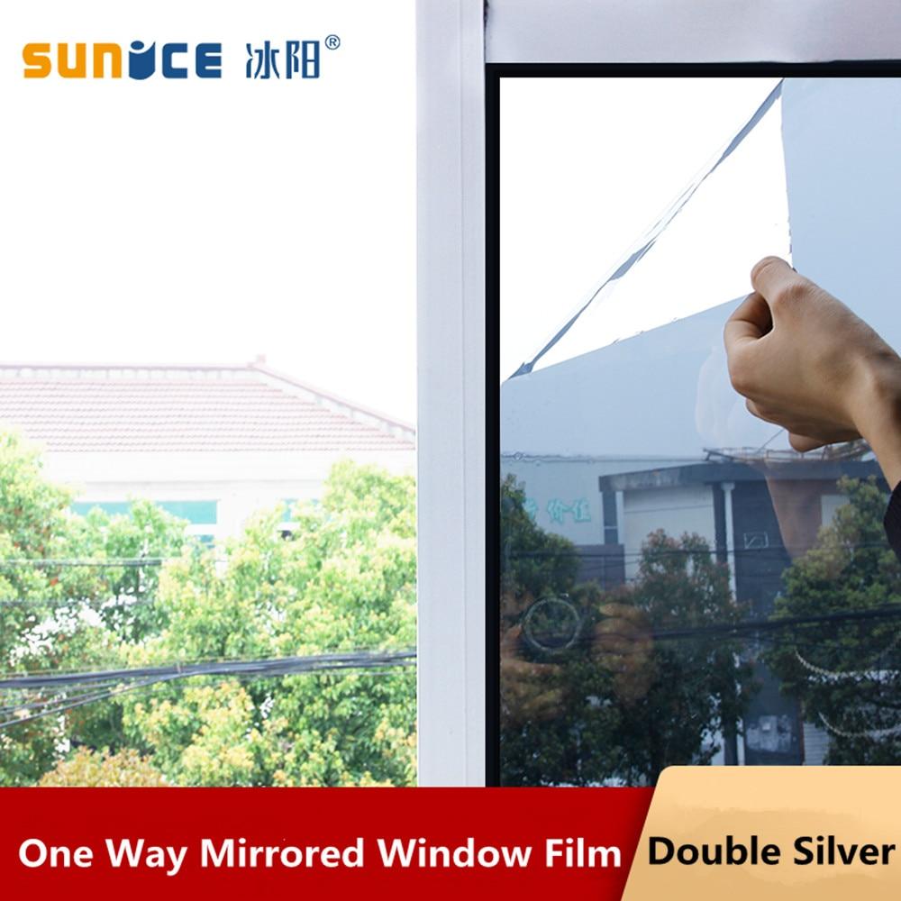 Largeur 70x400 cm argent miroir fenêtre Film isolation solaire teinte autocollants UV réfléchissant One Way intimité décoration pour verre