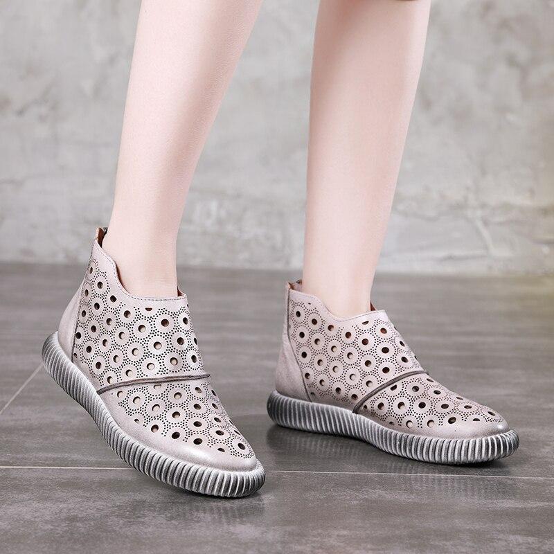 Sommer Stiefel VALLU Marke Schuhe Für Frauen Echtes Leder Aushöhlen Kühlen Flache Sandale Stiefel Dame Vintage Ankle Schuhe-in Knöchel-Boots aus Schuhe bei  Gruppe 1