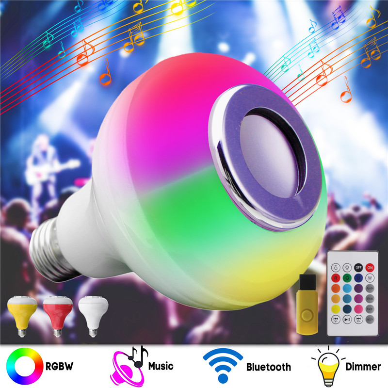 Smuxi E27 12W Wireless Bluetooth RGB LED Light Bulb Music Playing Remote Controller AC100-240V