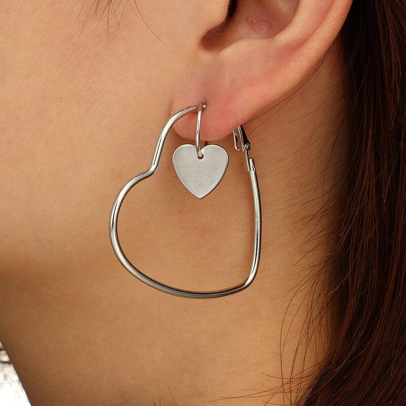 EK118 2Pais Двойное сердце серьги-кольца для женщин Висячие, геометрической формы серьги Женская мода современные ювелирные изделия Oorbellen аксессуары