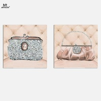 2016 Fashion New Promotion 2pcs Decoration Bling Bags Canvas Painting On Wall Hanging Combinat