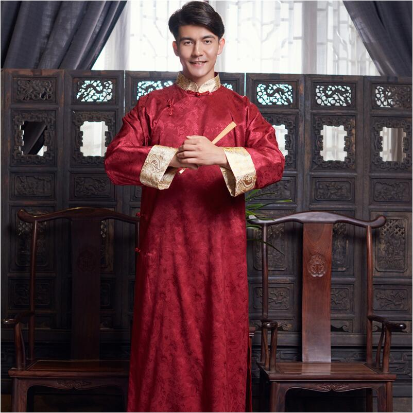 New ancient costume Chinese traditional font b clothing b font male cheongsam long sleeve Chinese tang