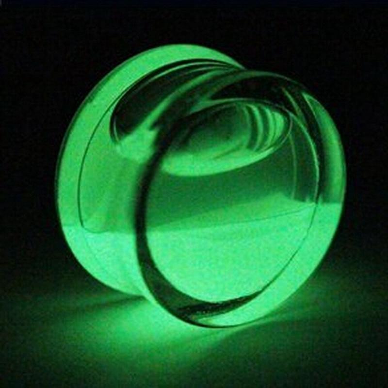 2 PCS Ear Plugs Piercing Glow In Dark Acrylic Tunnel Flesh Expander Plugs and Tunnels Ear