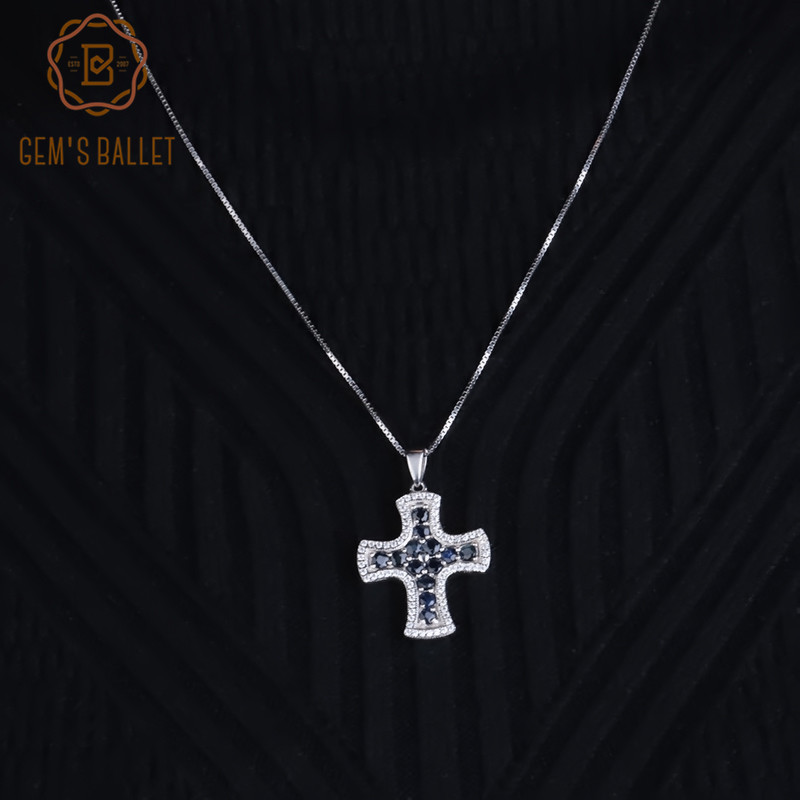 Gem's Ballet Natural Blue Sapphire Classic Cross Pendant Necklaces For Women 100% 925 Sterling Silver Fine Jewelry Collares