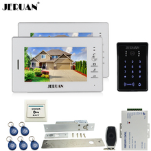 JERUAN 7 дюймов видео-телефон двери домофон комплект 2 монитор RFID водонепроницаемый сенсорная клавиша пароль клавиатуры Камера + пульт дистанционного управления