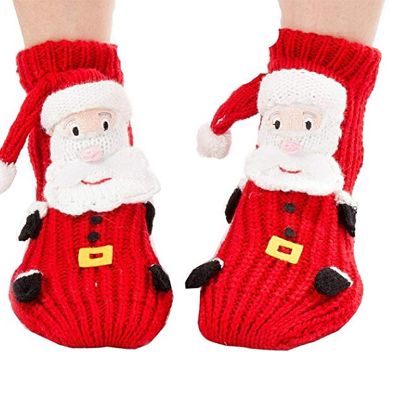 1 Pair Christmas Socks 3D Animal Non-slip Household Floor Socks Winter Warm Slippers -MX8