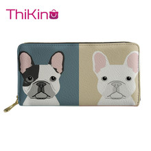 Thikin Bulldog  Pattern Long Wallets Zipper Phone Bag for Girls Animals Clutch Purse Carteira Handbags Notecase 2019