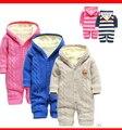 Nuevos mamelucos del bebé oso invierno recién nacido engrosamiento térmica suéter a cuadros prendas de vestir exteriores de ropa de bebé