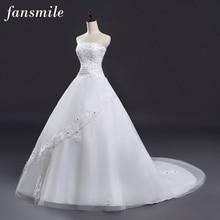Fansmile длинный шлейф Кружева Свадебные платья принцессы невесты размера плюс винтажный пояс бальное платье свадебное FSM-129T