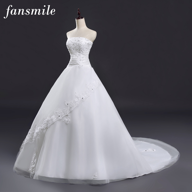Fansmile 2020 Long Train Lace Wedding Dresses Princess Bride Plus Size Vintage Belt Ball Gown Wedding Free Shipping FSM-129T