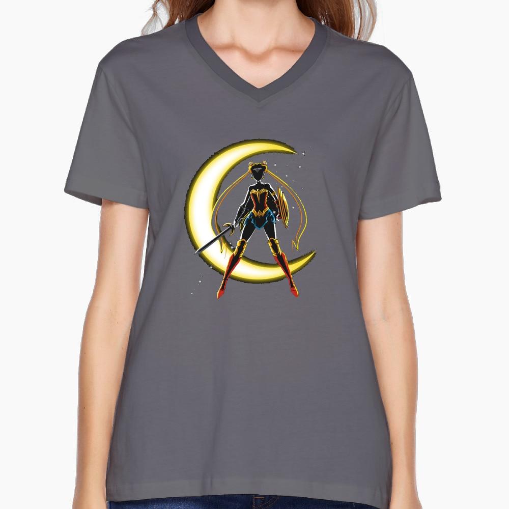 Wonder Moon Personalized Cotton Print O-Neck Short DeepHeather T Shirts Women Summer Skateboard Workout T Shirt