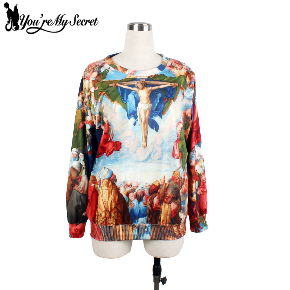 [Youre My Secret] Women Hoodies O-Neck Long Sleeve Moleton Printed Women Sweatshirts Wit ...