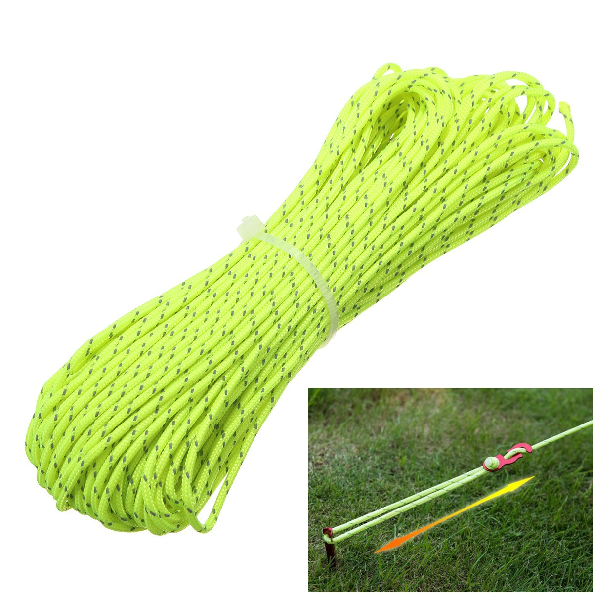 20m 1.8MM Reflective Guyline Camping Tent Rope Runners Guy Line Cord Paracord Outdoor Sports Camping Hiking Tent Accessories