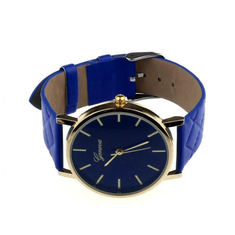 Checkers Faux Women Quartz Watch Blue