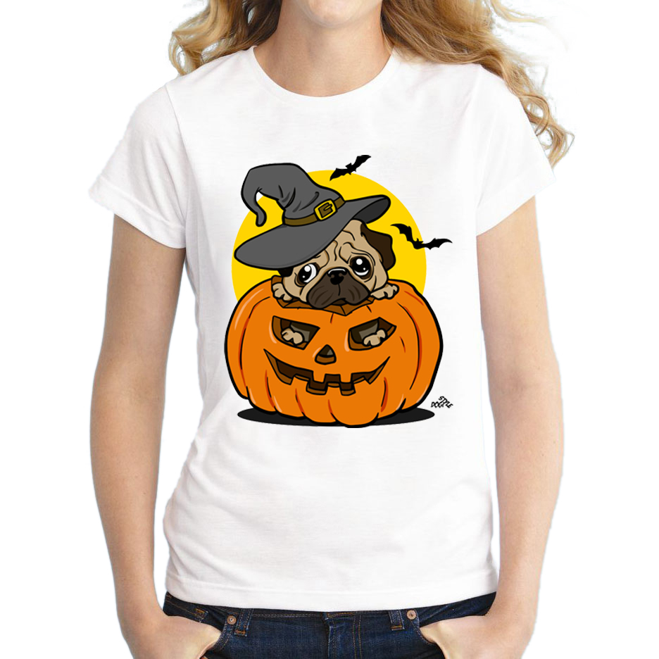 Dog Halloween T Shirts.2018 Newest Halloween Women T Shirt Halloween Pug T Shirt Pumpkin Dog Printed Novelty Tee Short Sleeve Casual Shirts Women T Shirt T Shirttee Short Aliexpress