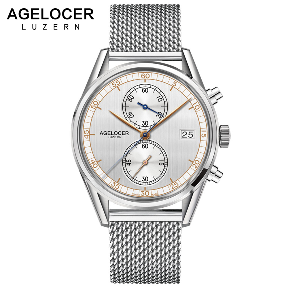 Men Watches Top Brand Switzerland AGELOCER Clock Luxury Men's Quartz Sports Wrist Watch Stainless Steel Watch Relogio Masculino цена и фото