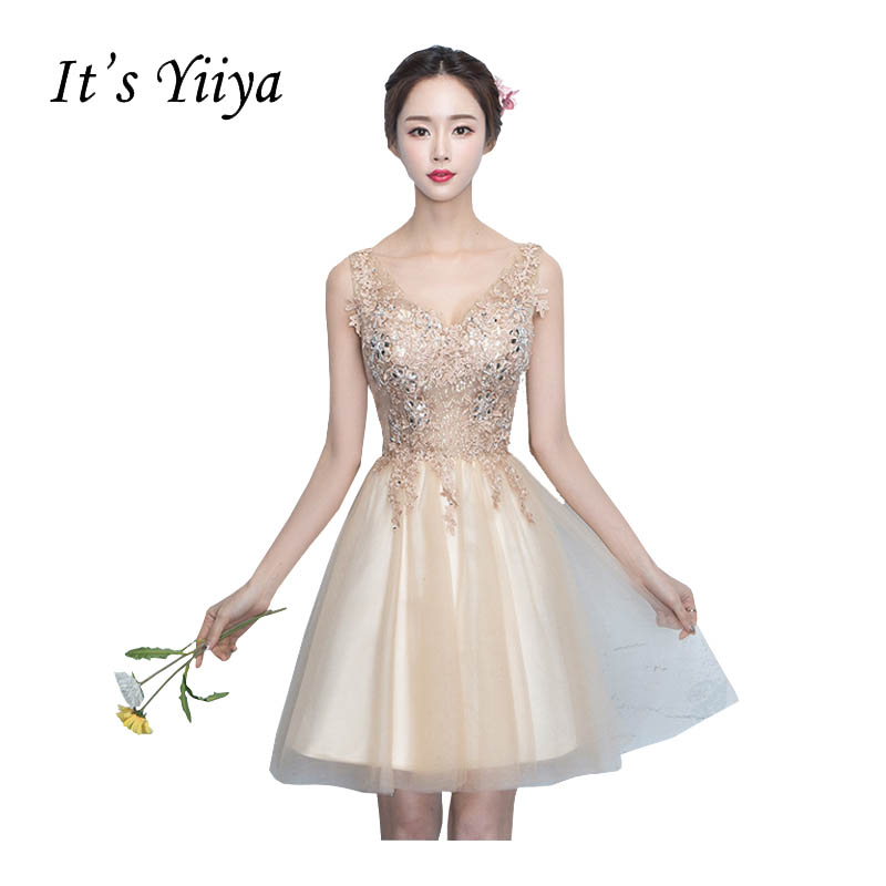 It's YiiYa Sleeveless V-Neck A-line   Bridesmaid     Dresses   Flower Above Knee Pattern Embroidery Elegant Illusion Tulle Frocks X159