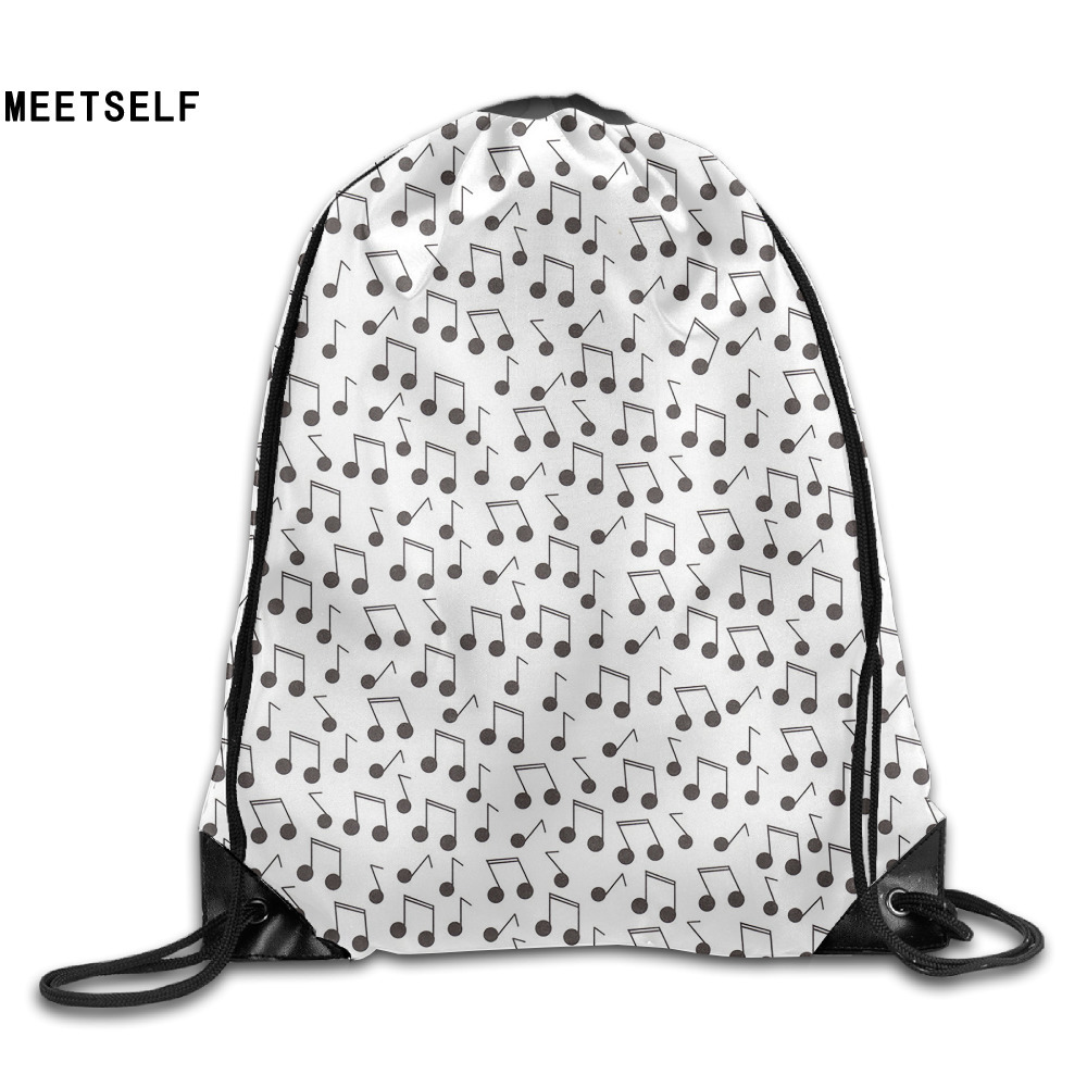 Samcustom 3d Print Jazzy Music Notes Shoulders Bag Women Fabric Backpack Girls Beam Port Drawstring  Dust Storage Bags #1