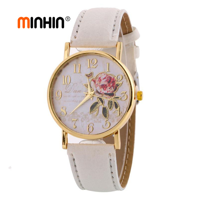 MINHIN New Arrival Rose Pattern Watches For Women Hot Selling PU Leather Wrist W